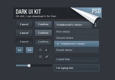 XOOplate :: Dark Web UI Elements Kit PSD - Small dark Ui elements kit - dropdown menu, input field and button sets in normal/active states, check boxes, radio buttons, slider - PSD.