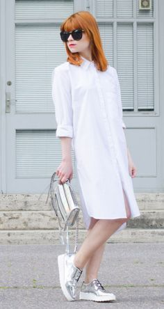 white dress + silver shoes