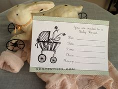 Tim Burton-esque baby shower invitation! Sooooo awesome....gonna do in red with creepy font.