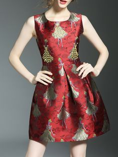 Shop Red Character Jacquard A-Line Dress online. SheIn offers Red Character Jacquard A-Line Dress & more to fit your fashionable needs.