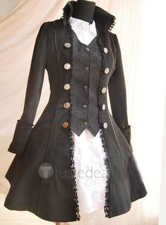 Black Gothic Prince Overcoat - Lolita Clothing