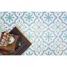 Paris Aqua Vintage Moroccan Victorian Porcelain Indoor / Outdoor Floor Tiles for sale online Morrocan Floor Tiles, Moroccan Tiles Kitchen, Wall And Floor Tiles, Kitchen Tiles, Kitchen Decor, Aqua Bathroom, Small Bathroom, Master Bathroom, Bathrooms
