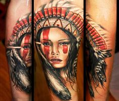 Portrait tattoo of Squaw by Benjamin Laukis