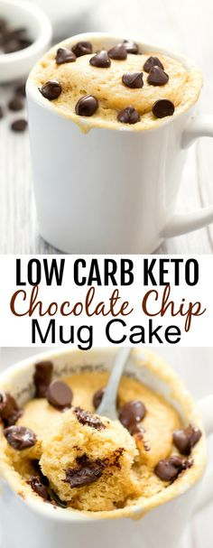 Keto Chocolate Chip Mug Cake Keto Chocolate Chip Mug Cake. A fluffy vanilla cake studded with chocolate chips. This single serving cake cooks in the microwave and is gluten-free, low carb and keto friendly. Chocolate Chip Mug Cake, Keto Chocolate Chip Cookies, Keto Cookies, Chocolate And Vanilla Cake, Chocolate Food, Low Carb Mug Cakes, Low Carb Desserts, Low Calorie Mug Cake, Keto Cake
