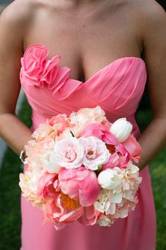 Romantic Bouquets Wedding Flowers Photos on WeddingWire Full & romantic with rose/peony look, but a bit too much pink! overall shape nice as a base Wedding Flower Photos, Flower Bouquet Wedding, Wedding Ideas, Wedding Stuff, Purple Wedding, Spring Wedding, Dream Wedding, Brides And Bridesmaids, Bridesmaid Dresses