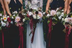 marsala bridesmaid bouquets with amaranth and dahlias