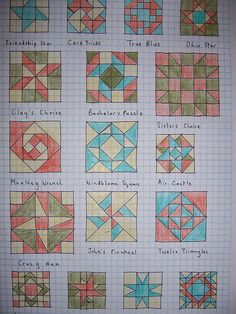 pics ~ 41672377 Quilt block designs ~ Some traditional quilt block designs that I'm looking at using for some new ideas. Barn Quilt Designs, Barn Quilt Patterns, Quilting Designs, Pattern Blocks, Graph Paper Drawings, Graph Paper Art, Painted Barn Quilts, Star Quilt Blocks, Block Quilt
