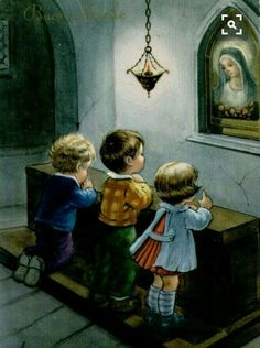Precious children talking to their Mother Mary Religious Pictures, Jesus Pictures, Religious Art, Catholic Kids, Catholic Prayers, Blessed Mother Mary, Blessed Virgin Mary, Religion, Vintage Illustration