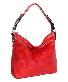 Look what I found on #zulily! Red Say Hey Leather Hobo #zulilyfinds