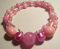 Women's or Girls Pink and White Girly Beaded by ArtHouseCreations, $16.99