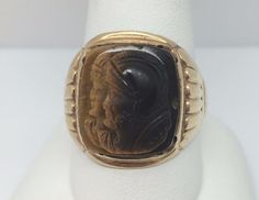 14KT YELLOW GOLD MENS TIGER'S EYE CAMEO RING SIZE 11 | Jewelry & Watches, Men's Jewelry, Rings | eBay!