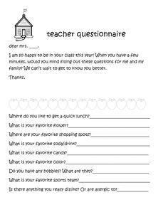 Teacher Questionnaire   Back to, Te amo and Schools