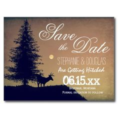 Rustic Deer Tree Country Save the Date Postcards