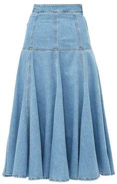 MSGM High Rise Fluted A Line Midi Skirt - Womens - Light Denim skirt courte cuir en jean longue fashion indian outfits outfits summer style Light Denim, Denim Fashion, Fashion Outfits, Denim Skirt Outfits, Long Denim Skirts, Mode Jeans, African Fashion Dresses, Ladies Dress Design, Midi Skirt
