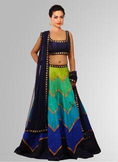 2dd55266db8 Buy Khantil Black   Cyan Raw Silk Navratri Special Printed Lehenga Choli  online