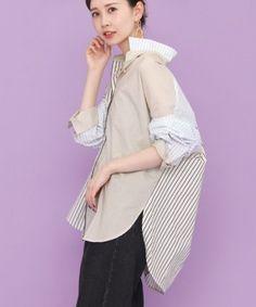 3種類のストライプ柄を組み合わせたインパクトのあるシャツが登場。他には無い、計算されたカラーリングとレイアウトに目が惹き付けられますね。オーバーサイズに仕上がっているので、ボタンを軽く開けて、袖を無造作にロールアップすれば、抜け感のある着こなしが簡単に完成します。 Fashion Line, Boho Fashion, Fashion Dresses, Womens Fashion, Fashion Design, Korean Shirts, Beautiful Dress Designs, Japan Fashion, Stylish Dresses