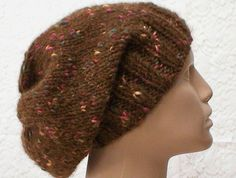 Tobacco brown tweed slouchy hat knit in an acrylic/wool chunky weight yarn is great for the winter season....
