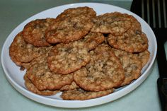 World's Best Oatmeal Chocolate Chip Cookies. Really. They are amazing.  I add a little sprinkle of coarse salt to the top to make them even better.  YUM.