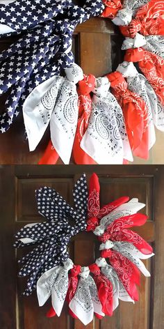 Make a patriotic wreath from bandannas in just minutes! A quick and easy idea for summer! Make a patriotic wreath from bandannas in just minutes! A quick and easy idea for summer! Fourth Of July Decor, 4th Of July Decorations, 4th Of July Party, July 4th, Diy Summer Decorations, 4th Of July Wreaths, Summer Decorating, Birthday Decorations, Patriotic Wreath