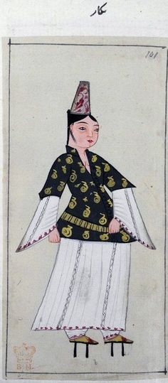 1620 turkish woman in traditional costume turkey british library