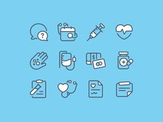 Medical - Icon set designed by Andrew McKay. Connect with them on Dribbble; Icon Design, Logo Design, Graphic Design, Flat Design, Launcher Icon, Medical Brochure, Clinic Logo, Small Icons, Mobile Icon