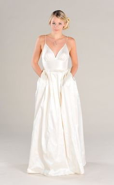 Modern Simple V-Neck Wedding Dress with pockets, Destination Wedding Dress, A-line wedding dress with pleated bell skirt. Low Back WITH POCKETS!!!