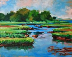 """Daily+Paintworks+-+""""Summer+Marsh""""+-+Original+Fine+Art+for+Sale+-+©+Mary+Anne+Cary"""