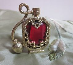 Signed 1928 Ruby Red Perfume Atomizer Bottle Vintage Brooch Pin on Etsy, $12.00