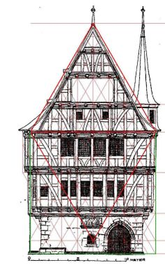 The lozenge form finds expression in unexpected places such as the fibonacci-like geometrical form of a medieval burgher's timber-framed manse
