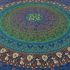 TWIN BLUE HIPPY ELEPHANT MANDALA BEDSPREAD TAPESTRY Beach Blanket Dorm Decor