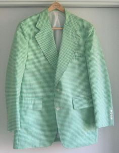 Vintage Rare KNICKERS Green Check 2 Button Sports Coat size 44 Long #Knickers #TwoButton