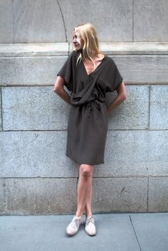 monique van heist grey tunic dress.