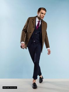 #BRIANDALES #MAN #COLLECTION #SS2016, single-breasted suit with matching vest, tie in contrast and blazer.