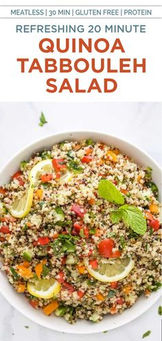 A refreshing 20 minute Quinoa Tabbouleh Salad that's an easy vegan salad recipe filled with mint, vegetables, hearty quinoa and lemon juice. This light and low calorie tabbouleh salad makes the best gluten free side dish that also happens to be plant based! #glutenfree #quinoa #vegan Easy Salad Recipes, Easy Salads, Side Dish Recipes, Healthy Gluten Free Recipes, Appetizer Recipes, Vegan Recipes, Side Dishes, Clean Eating Recipes, Cooking Recipes
