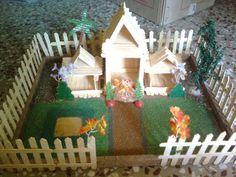 Getcrafty....: Ice-cream stick craft Ice Cream Stick Craft, Popsicle Stick Houses, Art N Craft, Craft Stick Crafts, Craft Sticks, Custom Woodworking, Woodworking Projects Plans, Home Crafts, Arts And Crafts