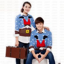 Cute Matching Ugly Christmas Sweaters for Lovers Funny Santa Claus Climbs Chimney Pattern Couple Pullovers Plus Size S-XXL(China (Mainland))