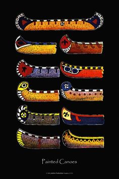 Native American Paddle Design | Painted Canoes Printwall artNative American by CanoeandCamera, $32.00