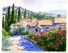 watercolor tuscany painting by Jennifer E. Young, all rights reserved.