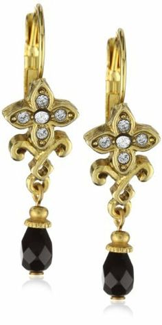 """Antiquities Couture Antique Swarovski Crystal and Gold-Tone Earrings Antiquities Couture. $25.00. Measures: 1 1/2""""L x 5/8""""W. Made in United States. Lever Back. Swarovski crystal. Always remove jewelry before bathing, exercising or swimming Made in United States"""