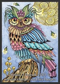 Fairy Tangles: A Couple of Feathered Friends  #fairytangles    #ZentangleDesign  #art
