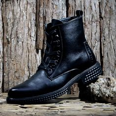 Men Black Leather Lace Up Gothic Punk Hipster Fashion Dress Boots SKU-1280739