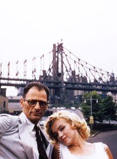 Marilyn Monroe & Arthur Miller in New York City photographed by Sam Shaw, 1957.