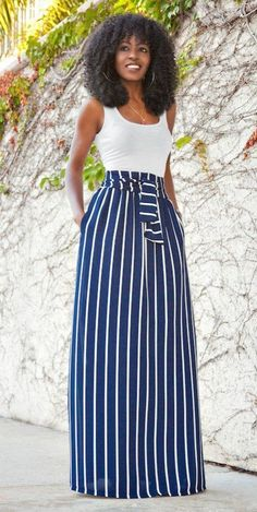 a perfect summer combo white tank top striped maxi skirt