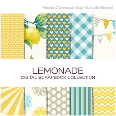 Digital Paper Pack Blue Plaid Digital Paper Yellow Polka Dot Digital Paper Chevron Paper Lemon Clipart Lemonade Clipart Wedding - C00030