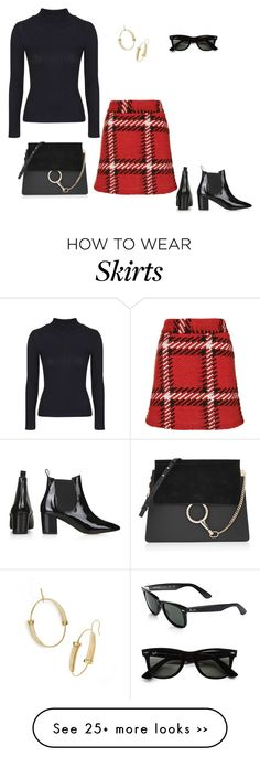 """""""Check Skirt"""" by jpschwartz on Polyvore featuring Topshop, Chloé, Tory Burch and Ray-Ban"""