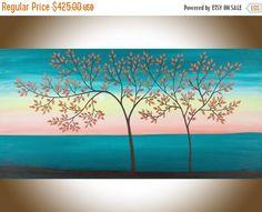 Landscape painting Large painting Original art Turquoise