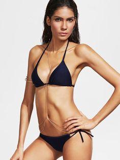 Halterneck Side Tie Bikini Set