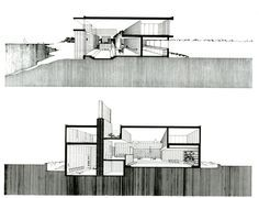 milam residence - jacksonville - paul rudolf - 1959-61 - sectional perspectives
