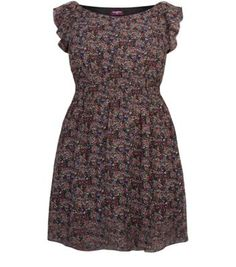 Inspire Navy Floral Puff Sleeve Dress