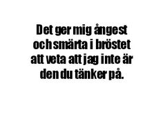 Du tänker inte på mig || swedish quote Quotes For Him, Sad Quotes, Love Quotes, Swedish Quotes, Abundance Quotes, Sad Texts, Cool Captions, Qoutes About Love, Love Thoughts
